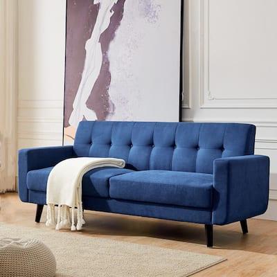 79 in. W Mid-Century Blue Fabric 2-Seats Loveseat Sofa