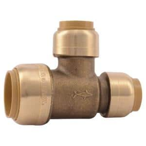 3/4 in. x 1/2 in. x 1/2 in. Push-to-Connect Brass Reducing Tee Fitting