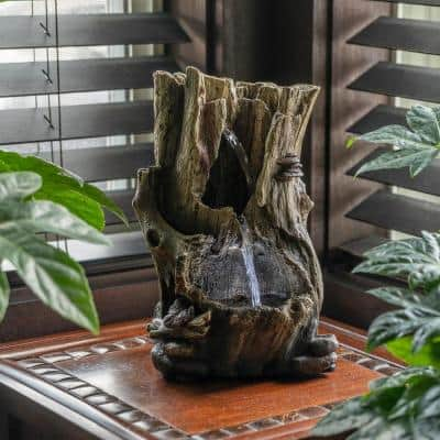 11 in. Tall Indoor Rainforest Tabletop Fountain with LED Lights