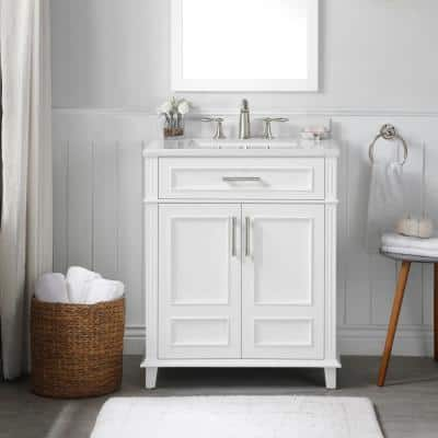 Highgate 30 in. W x 22 in. D Bath Vanity in White with Cultured Marble Vanity Top in White with White Basin