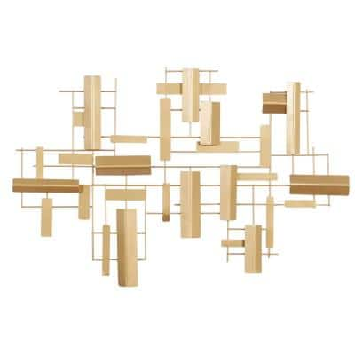 23 in. x 36 in. Gold Metal Contemporary Abstract Wall Decor