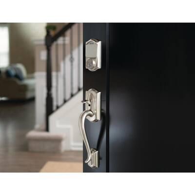 Camelot Satin Nickel Sense Smart Door Lock with Left Handed Flair Lever Door Handleset