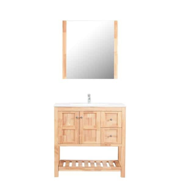 Manhattan 36 In W X 18 D Vanity, Natural Wood Bathroom Vanity