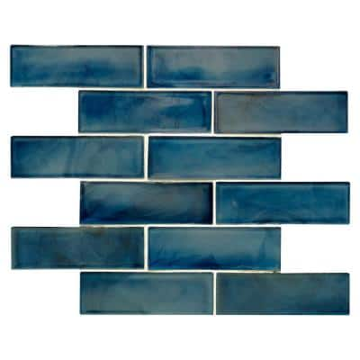 Blue Shimmer Subway 11.75 in. x 11.75 in. x 6 mm Textured Glass Mesh-Mounted Mosaic Tile (14.4 sq. ft./Case)