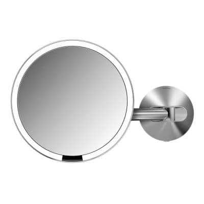 14 in. x 9 in. Wall-Mount Lighted Sensor-Activated Vanity Makeup Mirror in Brushed Stainless Steel Hard-Wired