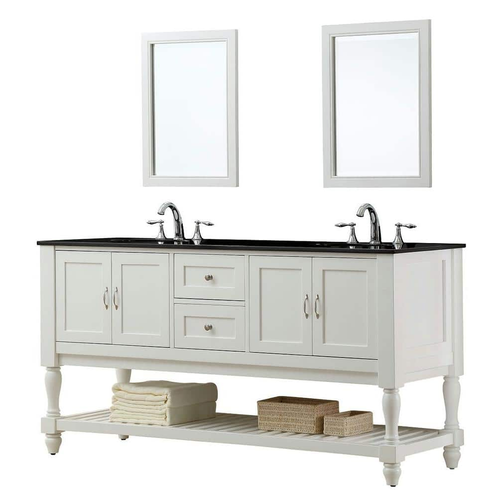 Direct Vanity Sink Mission Turnleg 70 In Double Vanity In Pearl White With Granite Vanity Top In Black And Mirror 6070d10 Wbk 2m The Home Depot