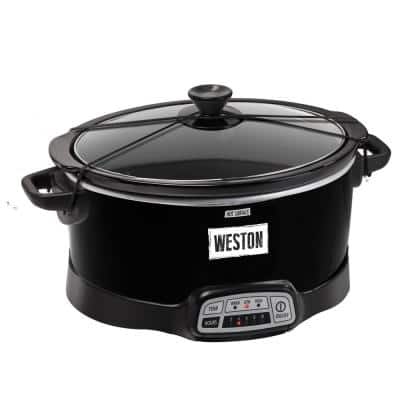 7 Qt. Programmable Black Slow Cooker with Locking Lid