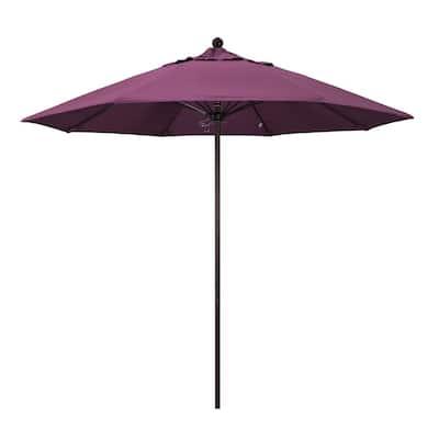 9 ft. Bronze Aluminum Market Push Lift Patio Umbrella in Iris Sunbrella