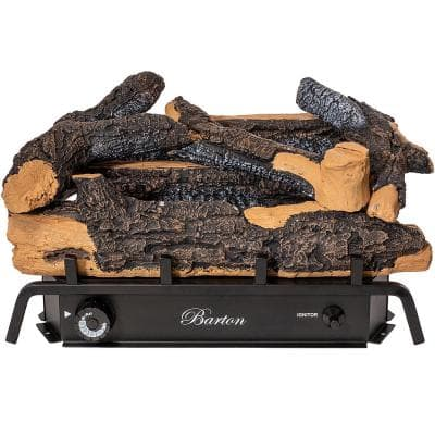 24 in. Vent-Free Natural Gas Fireplace Logs Set in Rustic