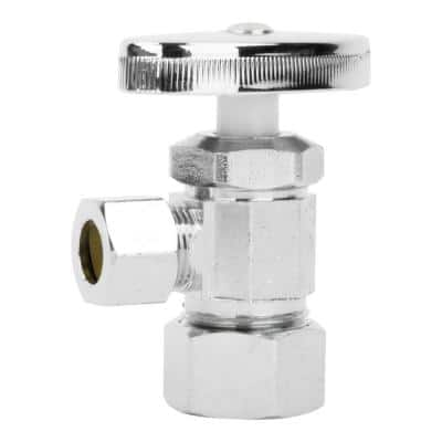 1/2 in. Nominal Compression Inlet x 3/8 in. O.D. Compression Outlet Multi-Turn Angle Valve, Chrome