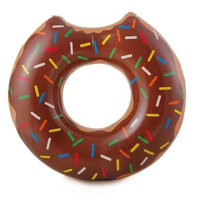 Gourmet Chocolate Doughnut Inflatable Pool Tube - Novelty Floating Food Swim Ring