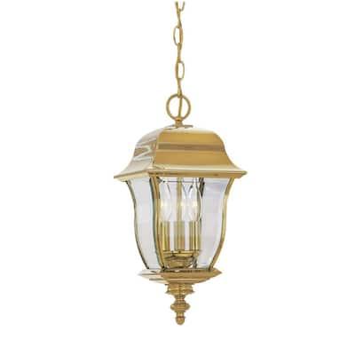 Gladiator Polished Brass 3-Light Outdoor Hanging Lamp