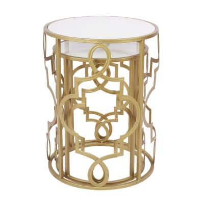 Modern 16.5 in. Gold Round Wooden Top Nest End Table