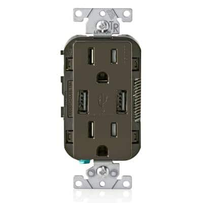 Decora 15 Amp Combination Duplex Outlet and USB Charger, Brown