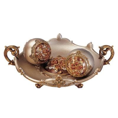 Bronze Rosie Polyresin Decorative Bowl With Spheres