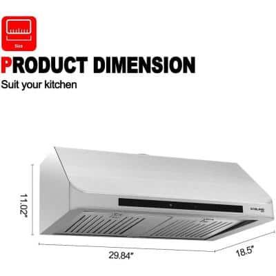 30 in. 3 Speed 450 CFM Built-in Range Hood Touch Screen Remote Control Under Cabinet Range Hood in Stainless Steel
