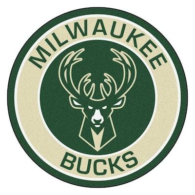NBA Milwaukee Bucks Cream 2 ft. x 2 ft. Round Area Rug