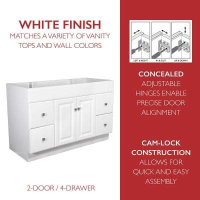 Wyndham 48 in. 2-Door 4-Drawer Bath Vanity Cabinet Only in Semi-Gloss White (Ready to Assemble)