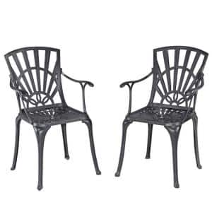 Grenada Stationary Charcoal Gray Cast Aluminum Outdoor Arm Chairs (Set of 2)