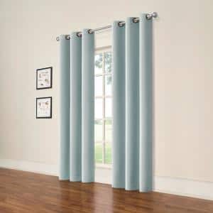 Spa Blue Grommet Blackout Curtain - 37 in. W x 84 in. L