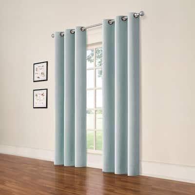 Spa Blue Grommet Blackout Curtain - 37 in. W x 84 in. L