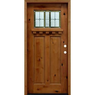 36 in. x 80 in. Craftsman Rustic 1/4 Lite Stained Knotty Alder Wood Prehung Front Door with 6 in. and Dentil Shelf
