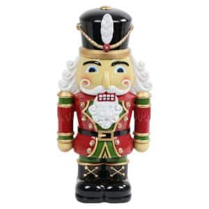 12 in. Resin Nutcracker Soldier with LEDs Garden Statue