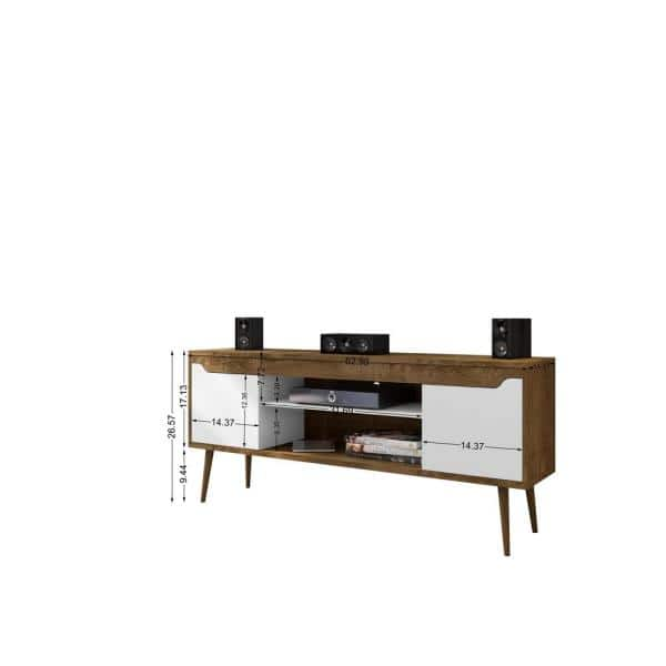 Manhattan Comfort Bradley 63 In Rustic Brown And White Composite Tv Stand Fits Tvs Up To 60 In With Cable Management 228bmc96 The Home Depot