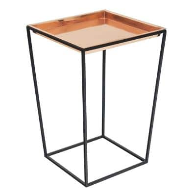 22 in. Tall Black Powder Coat Steel Large Indoor/Outdoor Arne Plant Stand with Copper Tray