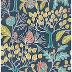 Groovy Garden Navy Vinyl Peel & Stick Wallpaper Roll (Covers 30.75 Sq. Ft.)