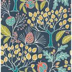Groovy Garden Navy Multi-Color Wallpaper Sample
