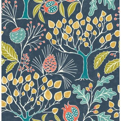 Groovy Garden Navy Multi-Color Wallpaper Sample