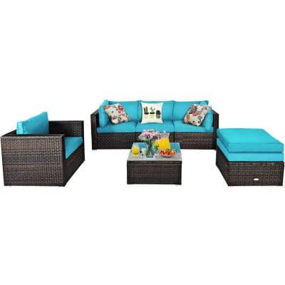6-Piece PE rattan Outdoor Sectional Set with Turquoise Cushions