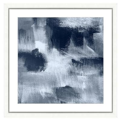 """""""Navy blue abstract II"""" Framed Archival Paper Wall Art (24 in. x 24 in. Full Size)"""