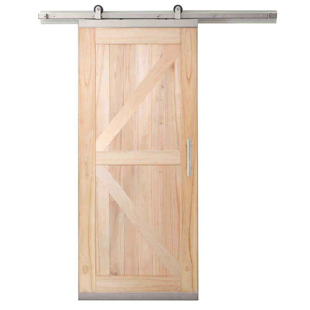 Jeld Wen 36 In X 80 In Designglide Farmhouse Unfinished Solid Wood 4 Panel Sliding Barn Door W Nickel Hardware Kit Thdjw237100003 The Home Depot
