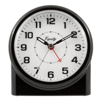 Large 4.72 in. Black Analog Alarm Table Clock with Night Vision Technology