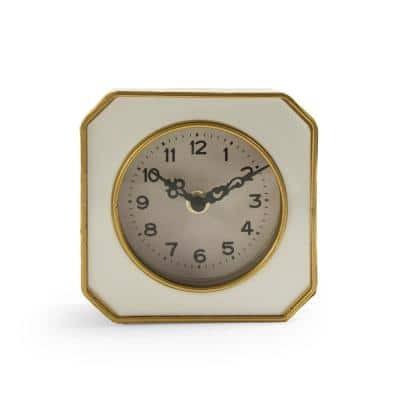 White and Gold Rounded Square Table Clock