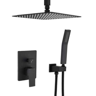 Shower System Ceiling Mounted with 12 in. Square Rainfall Shower head and Handheld Shower Head Set, Matte Black