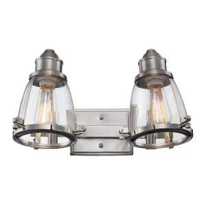Boston 16 in. 2-Light Brushed Nickel Vanity Light with Clear Glass Shades