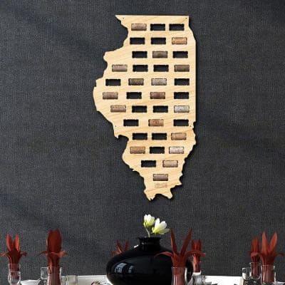 13.1 in. x 23.5 in. Illinois Wine Cork Map