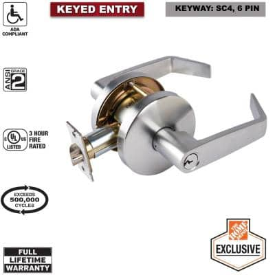 Commercial 2-3/4 in. Satin Chrome Heavy Duty Keyed Entry Door Lever