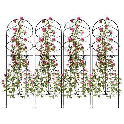 59.8 in. H Black Iron Garden Fence Outdoor Thicken Metal Wire Fencing Rustproof (4-Panels)