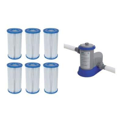 4.2 in. Dia Type-III/A Pool Replacement Filter Cartridge (6-Pack) with Pool Filter Pump System
