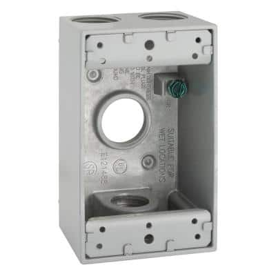 1-Gang Gray Weatherproof Box with Four 3/4 in. Threaded Outlets