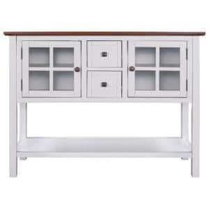45 in. White Rectangle Wooden Console Table for Living Room with 2-Drawers, 2-Cabinets and 1-Shelf