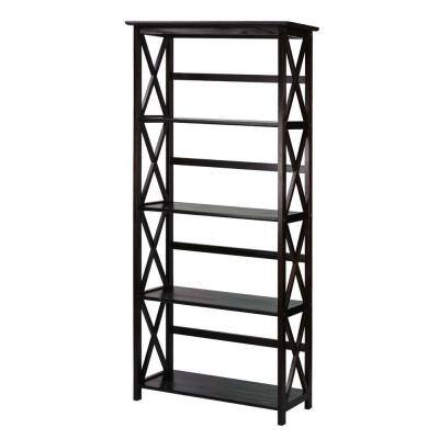 63 in. H Espresso New Wood 4-Shelf Etagere Bookcase with Open Back