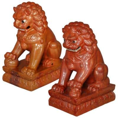 33 in. H Garden Statues Lions (2-Pack)