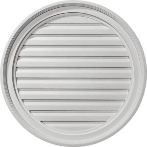 24 in. x 24 in. Round Primed Polyurethane Paintable Gable Louver Vent Functional