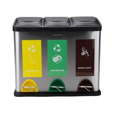 6.5 Gal Capacity Silver Stainless Steel 3-Section Recycling Bin