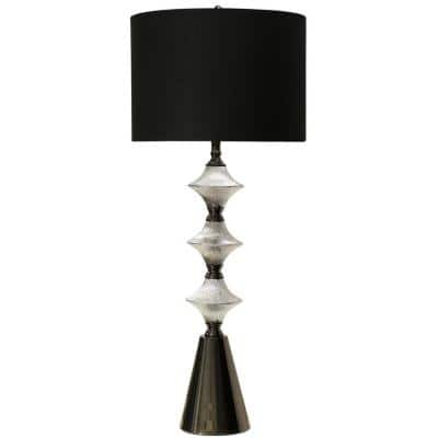 43 in. Silver and Black Chrome Table Lamp with Black Hardback Fabric Shade
